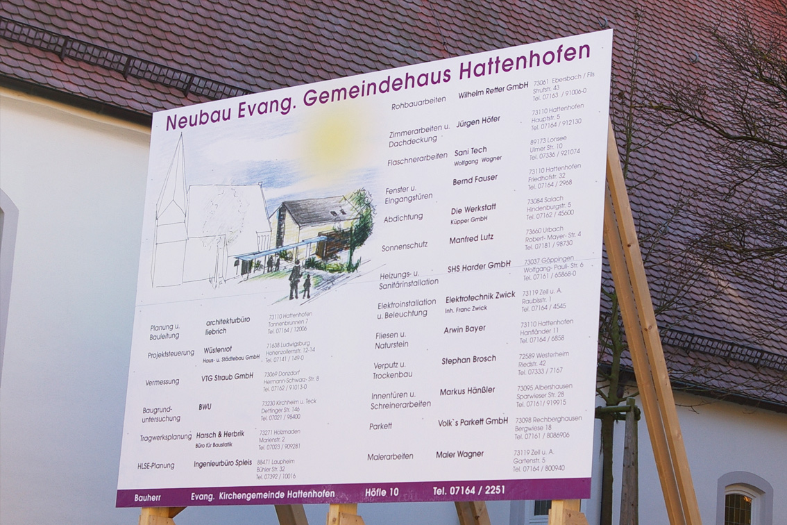 Bauschild Gemeindehaus Hattenhofen-Werbeagentur-Priss
