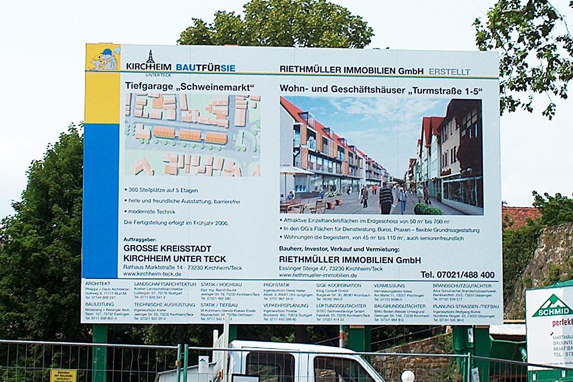 Kirchheim Schweinemarkt Bauschild-Werbeagentur-Priss