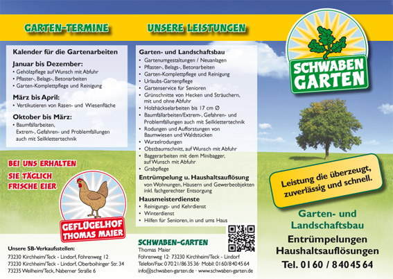 Vierte Auflage des Flyers von Schwaben Garten - Werbeagentur Priss
